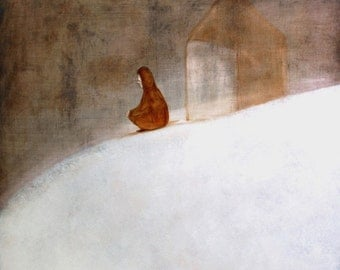 "Minimalist fine art giclee print of figure in winter landscape ""Lonely November"""