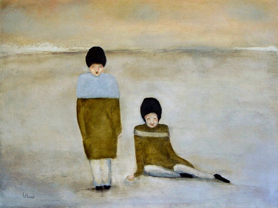 "Fine art giclee painting art print, winter art. women in landscape art. winter wall art. ""Winter Beach"""