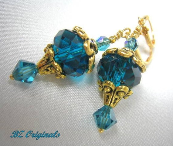 Teal Turquoise Czech Glass  and Swarovski and Antique Gold Earring Drops on Leverbacks - 2 inches long