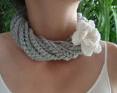 Jewelry &Crochet Necklace with Crochet Flower and Cokernut Button---No.4 color