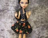 Halter top and skirt set for monster high dolls