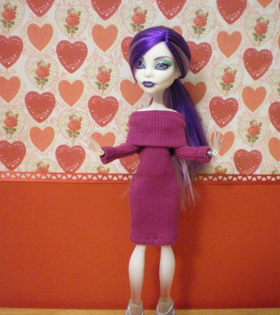 Eggplant colored sweater dress for monster high dolls