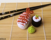 SUSHI CAT TOY catnip sashimi crochet organic crocheted pet toys