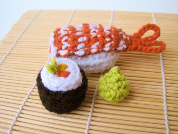 SUSHI CAT TOY catnip sashimi crochet organic crocheted pet toys