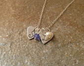 Personalized Fine Silver Heart Initial Tag and Birthstone Necklace - 2 pendants/2 birthstones