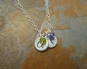 Personalized Fine Silver Small Round Initial Tag and Birthstone Necklace - 2 pendants/2birthstones