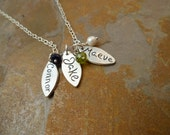 Personalized Fine Silver Petal Name Tag and Birthstone Necklace- 3 pendants/3 birthstones
