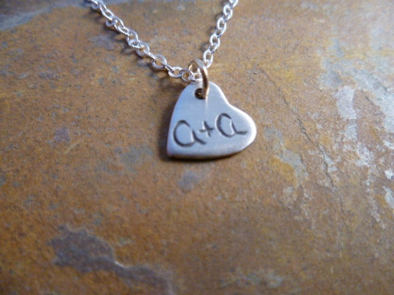 Fine Silver Anniversary Heart Tag Necklace Personalized with Initials and Date