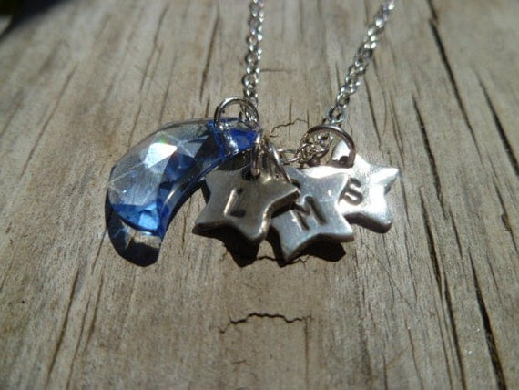 Personalized Fine Silver Initial Star Pendant and Swarovski Crystal Moon Necklace