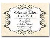 French Vintage Save the Date Wedding or Bridal Shower Invite or Announcement - PRINTABLE DIY Digital or Printed Design (optional)
