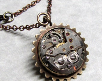 Sprocket Charm Steampunk Necklace ( SG1 )