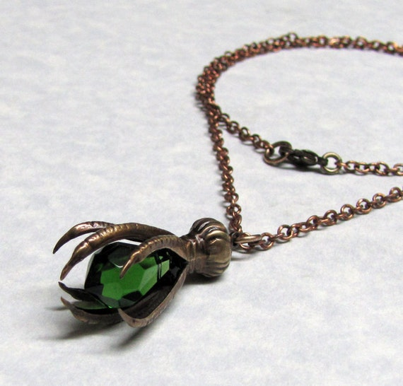 Steampunk Raven Claw Pendant  with Emerald Green Stone