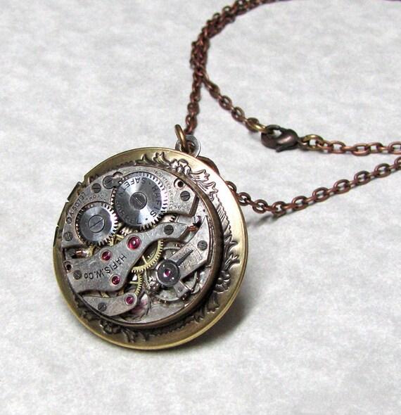 Steampunk Locket Pendant necklace ( MSL4 )