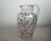 SALE Old Glass Pitcher with Painted Flowers