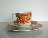 Teacup Saucer and Cake Plate, Antique,  Victorian, Trio, Elegant, Dainty,Three Piece Set, Orange Floral