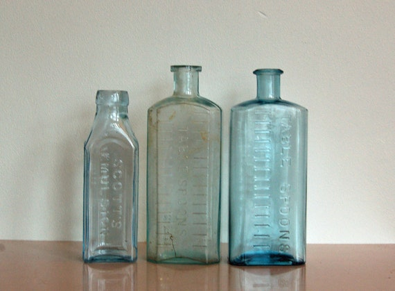Glass Bottles, Vintage, Set of Three, Antique, Light Blue, British, Chemist, Apothecary, Embossed, Use for Decor