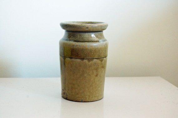 Antique Jar, Ceramic, Stonware, Solid, Rustic, British Vessel