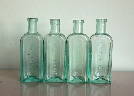 Glass Chemist Bottles, Vintage, Set of Four, Antique, Aqua, British, Apothecary, Instant Collection, Embossed, Use for Decor