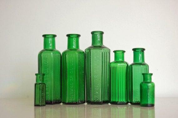 Antique Green Glass Bottles, Poison, Vintage Bottles, Various Sizes, Apothacary