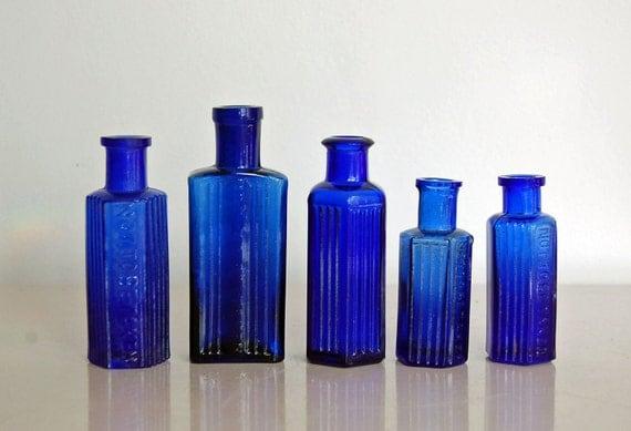 Antique Blue Glass Bottles Antique Blue Glass Bottles