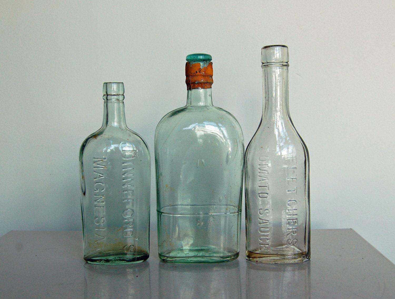 Vintage glass bottles british household bottles use for for Uses for old glass bottles