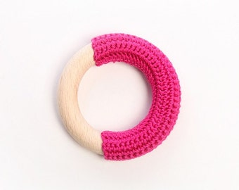 Raspberry pink teething ring / First Toy