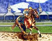 Archival print, Kentucky Racing Horse fabric mixed-media art