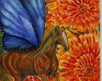 Flight Through the Dahlias Horse Painting