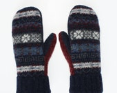Women's Blue, White and Deep Red Upcycled Wool Mittens - Free Shipping to USA and Canada