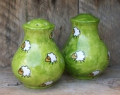 Group Graze Hand Painted Sheep Salt & Pepper Pot Set Lush Green Fields with Cloud like sheep scattered