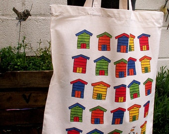 Beach Huts Cotton Tote Bag Featuring Phil the Seagull Ta da