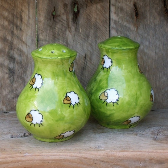 Group Graze Hand Painted Sheep Salt & Pepper Pot Set Lush Green Fields with Cloud like sheep scattered