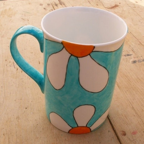 Turquoise Retro Flowers Mug Hand Painted English Bone China