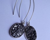Silver Titanium Druzy Drop Earrings on Long Sexy Silver Rhodium Plated Ear Wires
