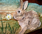 """Rabbit scene Relief 24"""" chainsaw wood carving colorful woodland indoor/ outdoor wall mount garden and home country living decour"""
