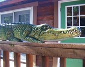 Alligator 54 inch chainsaw wood reptile carving primitive wall mount realistic sculpture art original sealed home garden bar decor gator