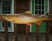 "Brown Trout 34"" chainsaw wood fish carving fishing retreat wall mount lake lodge art hand painted original Todd Lynd rustic home decor art"