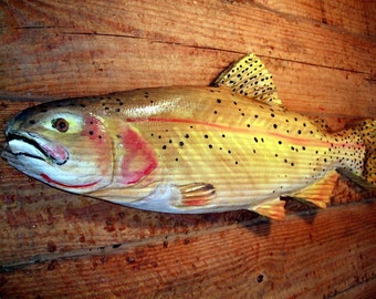 """Cutthroat Trout 27"""" chainsaw wooden fish carving sport fishing trophy sculpture rustic lake lodge decor wall mount original Todd Lynd art"""