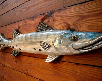 Barracuda wooden fish sculpture 4ft. chainsaw carving tropical rustic beach cottage man cave home decor wall mount indoor/outdoor art