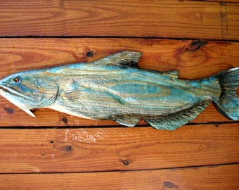 """Blue Catfish 26"""" chainsaw wood carving freshwater fish sculpture indoor /outdoor decoration wall mount hand painted original realistic art"""