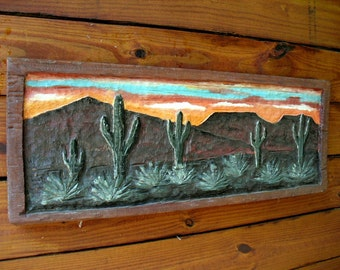 """Desert Scene Cactus with Wooden distressed Frame 36"""" chainsaw relief carving framed southwest design rustic home decor wall mount art"""