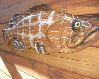 """Black Grouper 36"""" Todd Lynd chainsaw wood carving wall hanging realistic fish mount indoor/outdoor rustic beach home decor"""