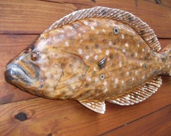 "Summer Flounder 24"" chainsaw carving sealed wooden Fluke fish sculpture Ocean Arts original seaside retreat beach home decor wall mount art"