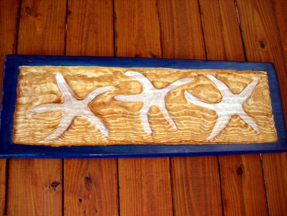 "Starfish 32"" chainsaw wood relief carving wall hanging tropical beach art coastal living nautical cottage decor blue frame or YOU pick color"