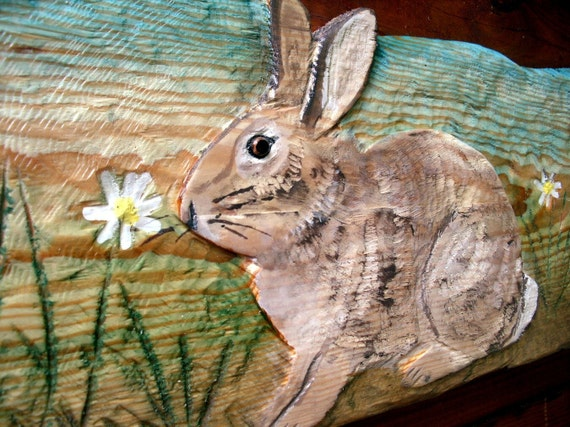 Rabbit scene relief chainsaw wood carving by oceanarts