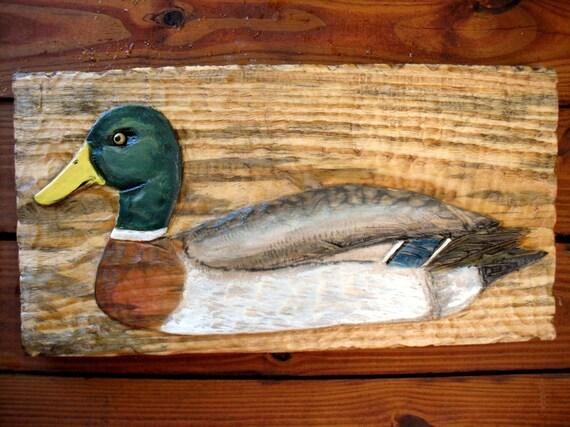 "Mallard Duck 24"" chainsaw relief wild bird carving wooden duck decoy sculpture home decor wall mount lake retreat rustic wildlife art"