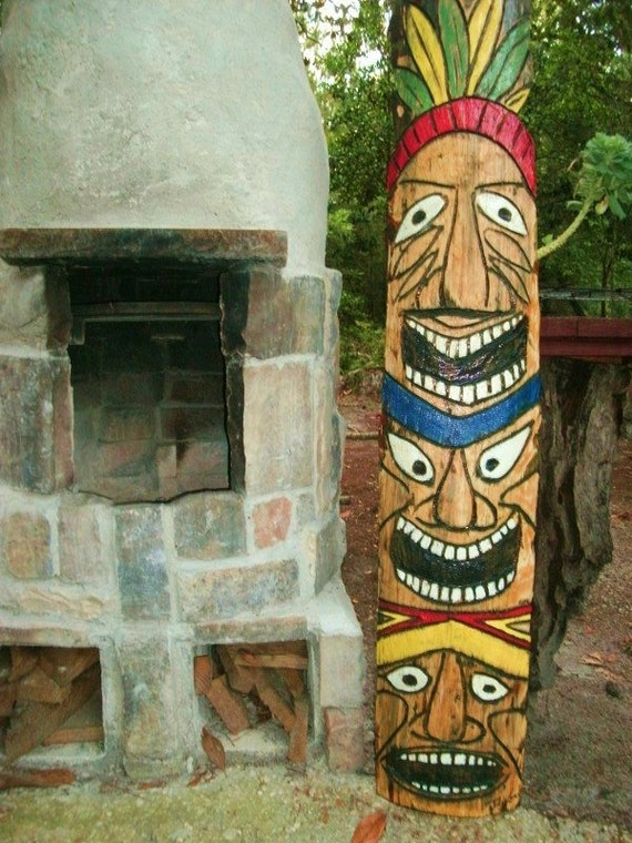Tiki totem pole ft tall inch wide chainsaw wood