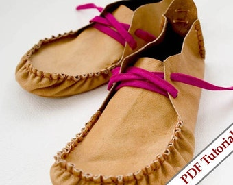 DIY Woman Leather Retro Shoes sizes 36-42 - PDF. pattern and photo - video tutorial