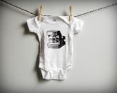 RESERVED for DC3 - hand-printed linocut polaroid baby onesie
