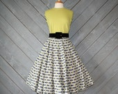 1950s DAISY Striped CIRCLE SKIRT / Grey & Yellow Cotton, xs - s